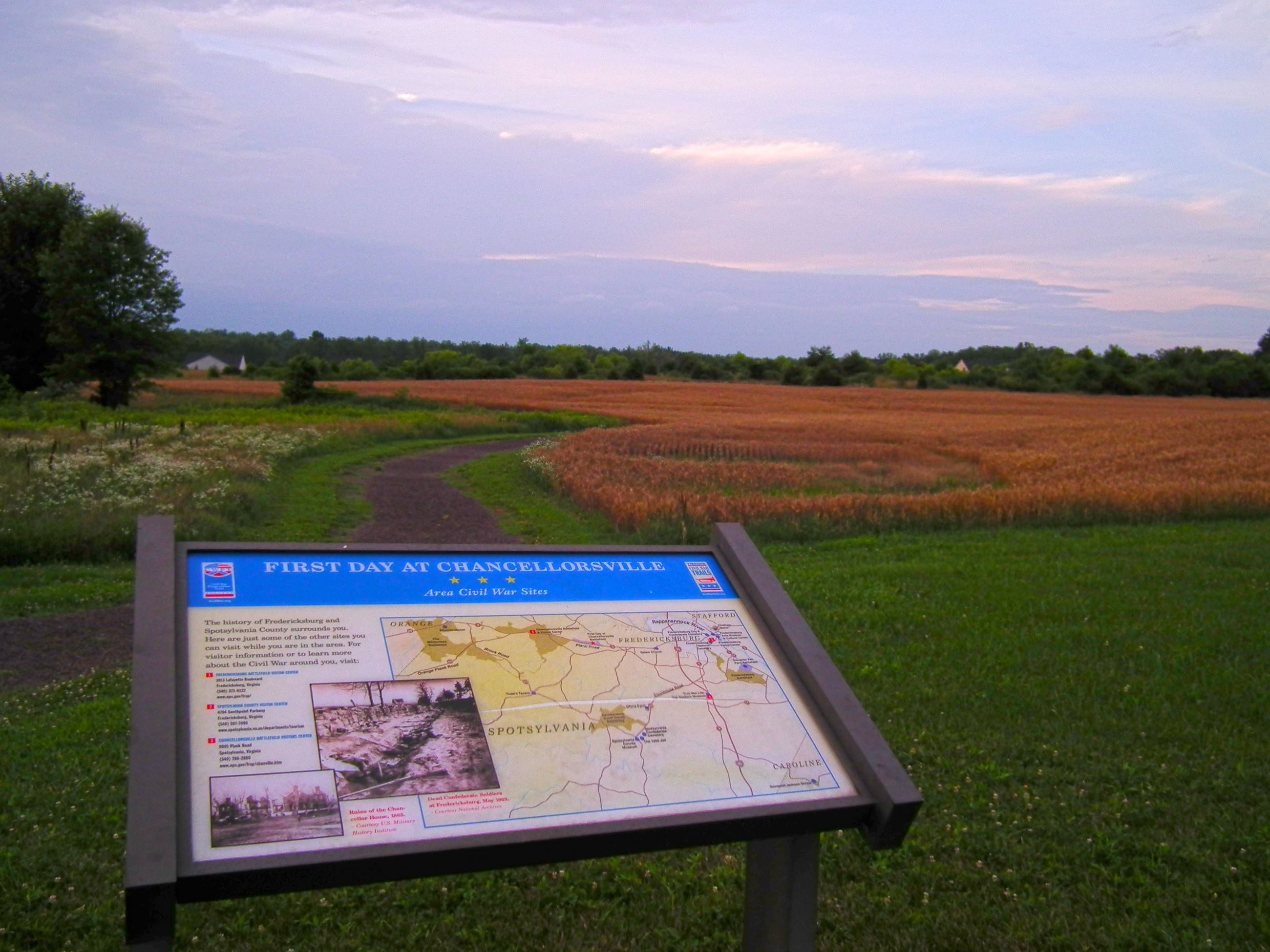First Day at Chancellorsville Sign and Path
