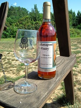 Mattaponi Bottle and Glass at Winery