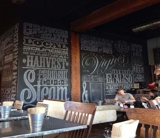Water Restaurant Dining with Chalkboard Art